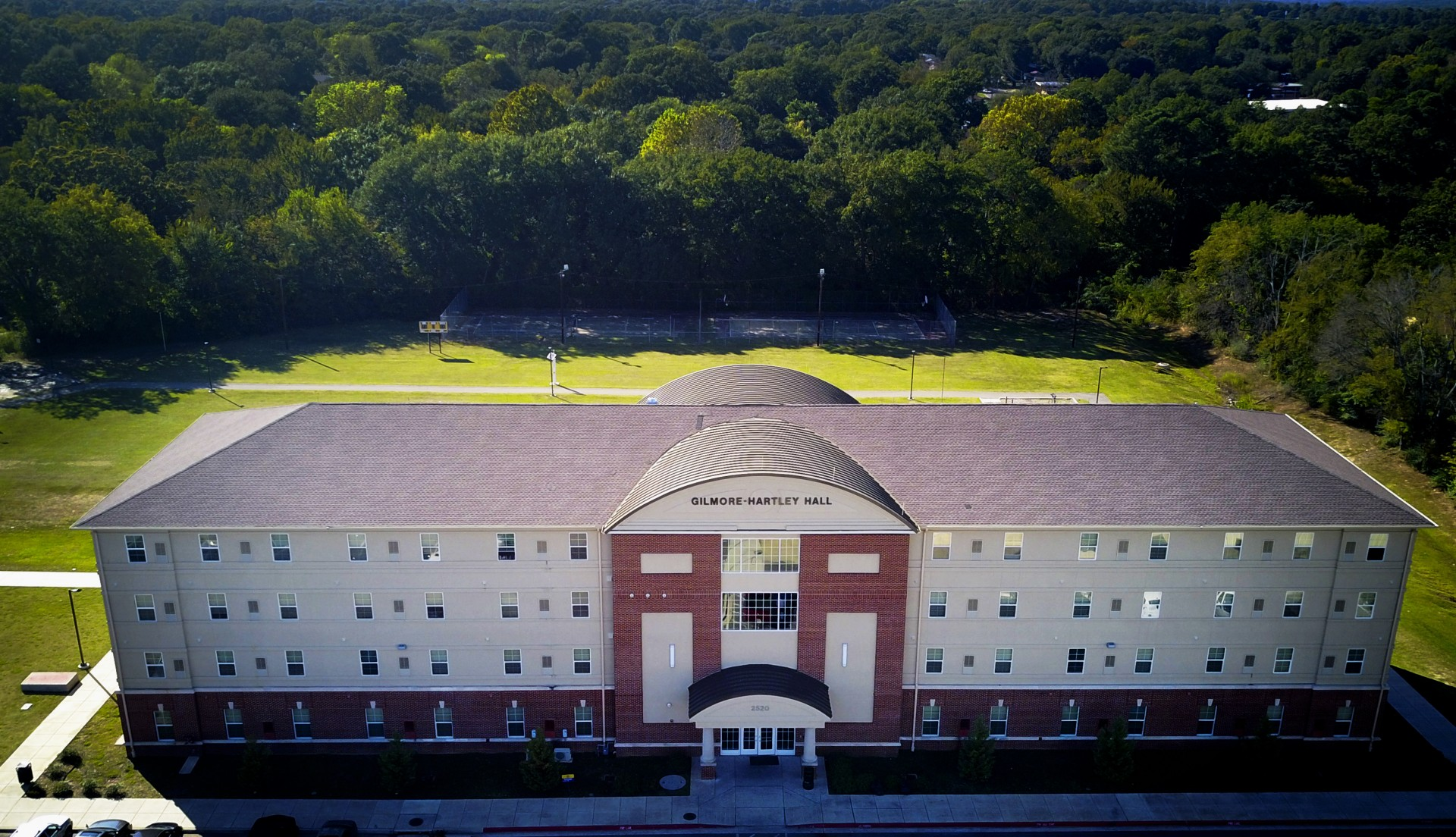 Pictured is Gilmore-Hartley Hall, a four story residence hall.
